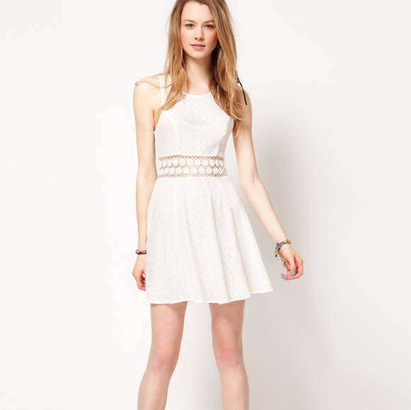 Free People Dresses White Lace Crochet Daisy Skater Dress Poshmark
